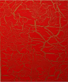 "Ed Moses ""Red Over Bronze"" 2012. Acrylic on canvas"