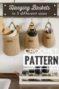 Clear off your kitchen counters with these crocheted jute hanging baskets. Make them in 3 different sizes to fit all the things you want to keep close at hand, but off your countertops! Gorgeous pattern! #CrochetPattern #CrochetBasketPattern #HangingBasketPattern #Crochet #CrochetForHome #KitchenCrochet #Yarn #Crafts #IKnitForCozyHome #CraftEvangelist Dishcloth Knitting Patterns, Crochet Basket Pattern, Modern Crochet Patterns, Easy Sewing Patterns, Do It Yourself Decorating, Crochet Home Decor, Kitchen Counters, Crochet Bags, Hanging Baskets