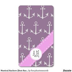 Nautical Anchors (Boat Anchors) - Purple Gray Double-Sided Standard Business Cards (Pack Of 100)