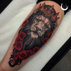 Lion and poppies tattoo by jason james tattoos
