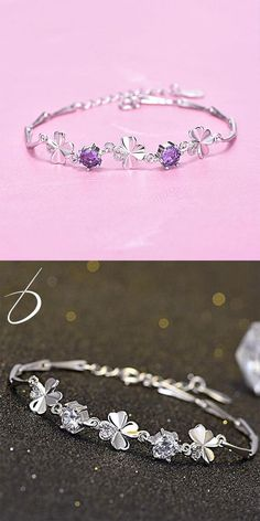 Cute Four-leaf Clover Amethyst Girl Friend Gift Flower Silver Women Bracelet #bracelet #flower