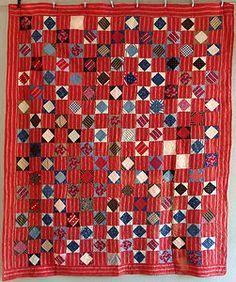 Antique Handmade Early 1900s SQUARE IN SQUARE Quilt Feedsack Red Indigo Prints | eBay, i_spy_design
