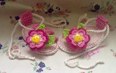 free baby crocheted sandals pattern | Crochet Sandals with Pink Flower for Baby - pattern pdf 1 - Permission ...