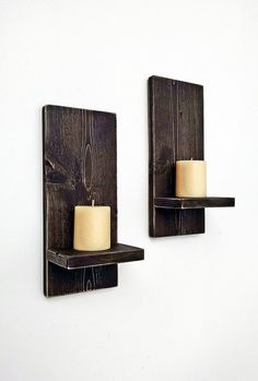 Rustic Wall Sconces Pair Wood Wall Candle By BlueRidgeSawdust  #PrimitiveBedroom