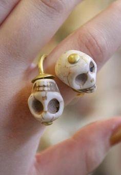 Double Howlite Skull Ring