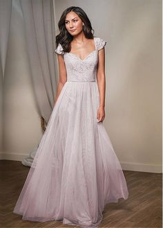 Buy discount Fantastic Tulle & Lace V-neck Neckline Cap Sleeves A-line Bridesmaid Dresses at Dressilyme.com