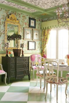 Feminine breakfast room ideas - mint green, pink and yellow - mixed prints, painted floor (though actually a dining room in Brooklyn!) - John Loecke and Jason Oliver Nixon
