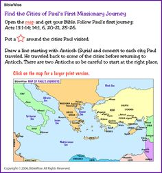Map, Find the Cities in Paul's First Journey– Kids Korner – BibleWise