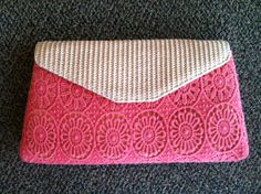 Coral crochet & wicker clutch  www.facebook.com/artifactboutique
