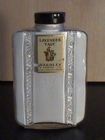 Vintage Yardley Old Bond St London Lavender Talc in Glass Bottle Circa 1930s (Full & Unused)