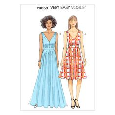 Vintage Sewing Patterns Vogue Patterns Misses Special - Lined dress has close-fitting bodice, waistband and back zipper.Size Range: MissesGarmet Type: Special OccasionDesigner: Very Easy Vogue Vogue Patterns, Easy Sewing Patterns, Mccalls Patterns, Vintage Sewing Patterns, Deep V Dress, Maxi Robes, Miss Dress, Summer Dresses, Sexy Dresses