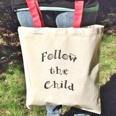 """""""Follow the child.""""  Maria Montessori  Montessori Quote Tote Follow the Child by MOMtessoriLife on Etsy - great teacher gift idea!"""
