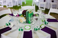 Clever wedding table decor for the literary-minded bride & groom! Green, book-themed wedding at the Lyman estate | Boston Wedding Photographer | Nicole Chan Photography