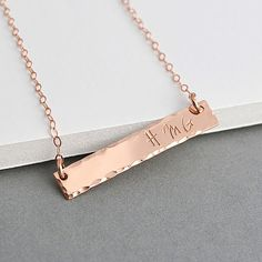 Rose Gold Bar Necklace Hammered, Name Necklace, Horizontal Gold or Silver Bar Necklace, Personalized, Bar Monogram, Engraved Bar