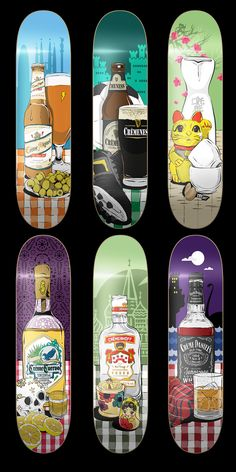 Cool skateboard deck illustrations. I like the Liquor motifs and the cultural themes respective to each board.