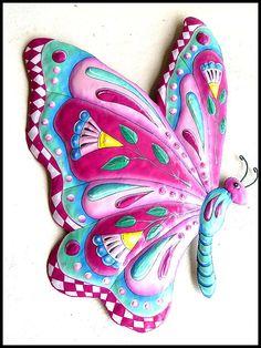 Mariposa colgante de pared pintado arte del Metal arte del