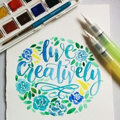 paola_koala makes gorgeous watercolour typography! Great use of Gansai Tambi & our Water Brush! Watercolor Typography, Watercolor Quote, Pen And Watercolor, Watercolor Design, Calligraphy Letters, Typography Letters, Stylo Art, Brush Pen Art, Water Brush Pen