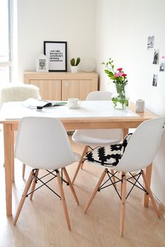 white modern dining room. My Dining room  white Scandinavian style Eames chairs Passion shake Lampeninnenleben kleiner Aufwand gro e Wirkung K che