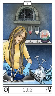 The five of cups is the card of loss in pleasure, or disappointment. In the card, the woman has washed 3 wine glasses, while two remain in the background. She's washing her hair out in a bowl, while on a back shelf a snow globe and two half-full glasses stand unnoticed. A barred window is over everything.
