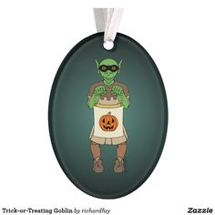 Trick-or-Treating Goblin Ornament.  40% Off with code ZAZZLESALE50  Offer is valid through September 11, 2017, 11:59 PM PT.  #Zazzle #ornament #acrylic_ornament #Halloween_ornament #goblin #trick_or_treater