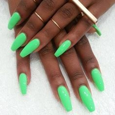 Mint Green Nails 2016 Coffin Neon
