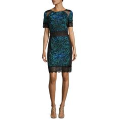 Tadashi Shoji Short Sleeve Lace Cocktail Dress ($390) ❤ liked on Polyvore featuring dresses, apparel & accessories, round neck dress, embroidery lace dress, short sleeve dress, embroidery dresses and glamorous dresses
