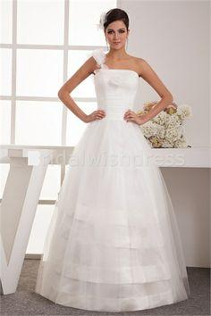 Outdoor/ Garden A-Line One-shoulder Floor-length Netting Wedding Dress