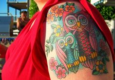 high saturation mother son owl tattoo