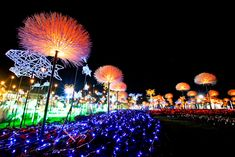 6,300 meter light installation by  Apostrophy S at the international horticultural exposition at the Royal Rajapruek Park in Chiang Mai, Thailand. A group of 'solar cell flowers' collect energy during the day to sustainably power the lights at night.