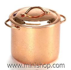 Medium Copper Stock Pot with Lid, Dollhouse Miniature Mini Kitchen, Miniature Kitchen, Copper Kitchen, Kitchen Dining, Miniature Furniture, Dollhouse Furniture, Accessoires Mini, Mini Things, Doll Houses