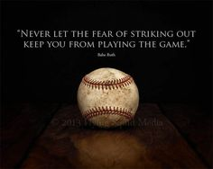 Baseball Art  Babe Ruth Quote Never let the fear of by SquidPhotos, $15.00