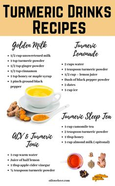 Turmeric lowers your blood sugar levels and boost your immune system; helps you sleep faster better and wake up fully refreshed and active. Discover these recipes of turmeric drinks for weight loss insomnia stress relief and energy boost. Healthy Drinks, Healthy Eating, Healthy Recipes, Detox Drinks, Health Diet, Health And Nutrition, Nutrition Tips, Smoothies, Turmeric Drink
