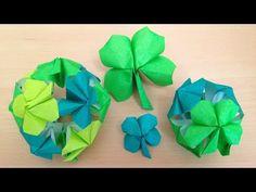 折り紙のくす玉 四つ葉のクローバー 12ユニット 簡単な折り方(niceno1) Origami Kusudama four leaf clover 12units - YouTube