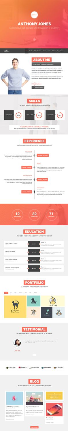 As the name suggests, 'ResumeX' is a Wordpress resume/CV theme but a much more comprehensive and better designed one than the others. It is very complete with many relevant sections to pick and choose from including a slick loading timeline and an AJAX loading portfolio section. The responsive theme ships with it's own custom administration system to control the layout and content of the page; a very nice added feature.