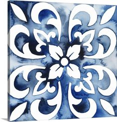 Bungalow Rose 'Cobalt Tile II' Wrapped Canvas Painting on Canvas Size: H x W x D Artist Canvas, Canvas Artwork, Framed Artwork, Canvas Wall Art, Canvas Prints, Big Canvas, Framed Prints, Canvas Size, Framed Wall