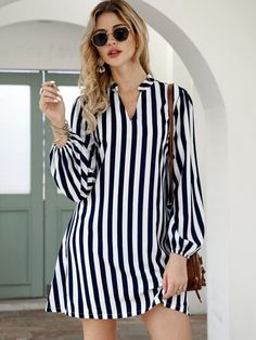 To find out about the Notched Collar Vertical Stripe Shirt Dress at SHEIN, part of our latest Dresses ready to shop online today! African Fashion Dresses, Fashion Outfits, Jeans Fashion, Trendy Outfits, Casual Dresses, Short Dresses, Mini Dresses, Dresses With Sleeves, Women's Dresses