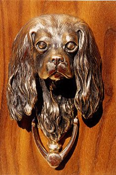 Cavalier King Charles sculpted door knocker cast in fine art bronze, individually hand made upon order. A work of art to last forever. Cavalier King Charles, Cavalier King Spaniel, King Charles Spaniel, Door Knobs And Knockers, D House, Bronze, Unique Doors, Door Accessories, Porches