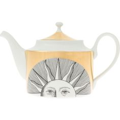 Fornasetti Sun Print Teapot ($431) ❤ liked on Polyvore featuring home, kitchen & dining, teapots, white, ceramic teapot, white ceramic tea pot, ceramic tea pot, white teapot und white tea pot