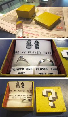 Mario marriage proposal, so nerdy cute! Wedding Proposals, Marriage Proposals, Nerd Love, My Love, Ways To Propose, Maybe One Day, Mario Bros, Mario Brothers, Marry Me