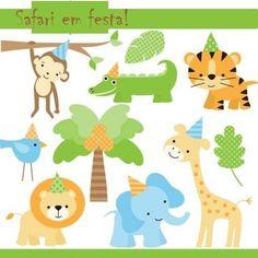 kit para scrapbook digital festa safari