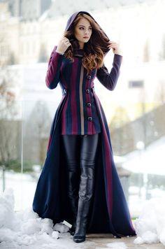 Rebecca Long Coat with removable skirt and hood Wool Coat Coat Dress, Dress Up, Maxi Coat, Mode Tartan, Look Fashion, Womens Fashion, Fashion Design, Fashion Coat, Winter Fashion
