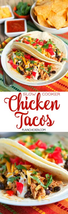 Slow Cooker Chicken Tacos - only 5 ingredients! chicken, salsa, taco ...