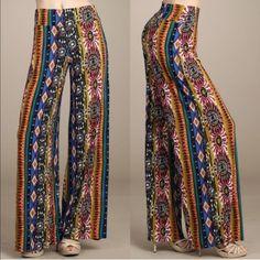 💠💠The TABBY Print palazzo pants - BLUE 92% poly, 8% spandex. ‼️️NO TRADE‼️ Bellanblue Pants