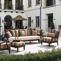 Of the expansive Tommy Bahama outdoor furniture offering, the Kingstown Sedona Deep Seating set is perhaps the most elegant and distinguished option.