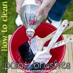 Clean paint brushes with white vinegar  1. Bring a pan of white vinegar to a boil. 2. Add the paint brushes to the boling water and allow them to simmer for around 5 minutes. 3. Remove from the pan and wash in hot soapy water.