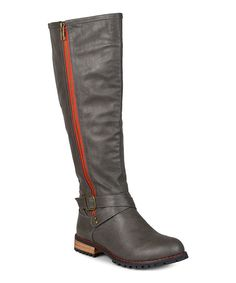 Gray Payge Wide-Calf Riding Boot