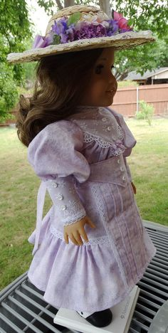 This listing is a reserved custom listing for someone special. This pretty lavender Gibson Girl Style dress is perfect for American Girls Samantha