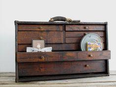 Vintage Machinist Wood Toolbox - Antique Tool Box / Toolbox - Industrial Decor…