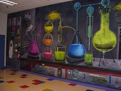 Bubbling Potions room mural at The Lab Kids Science Lab, Science Party, Bible Science, Mad Science, Science Classroom Decorations, Science Room Decor, Chemistry Classroom, Chemistry Bulletin Boards, School Murals