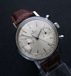 Movement: Zenith cal. 146D, 17jewels, manual wind chronograph movement Signed 'Zenith', and cal 146D. An absolute Beauty – late 1960s large size Zenith chronograph with nice dial featuring some characterful patina.